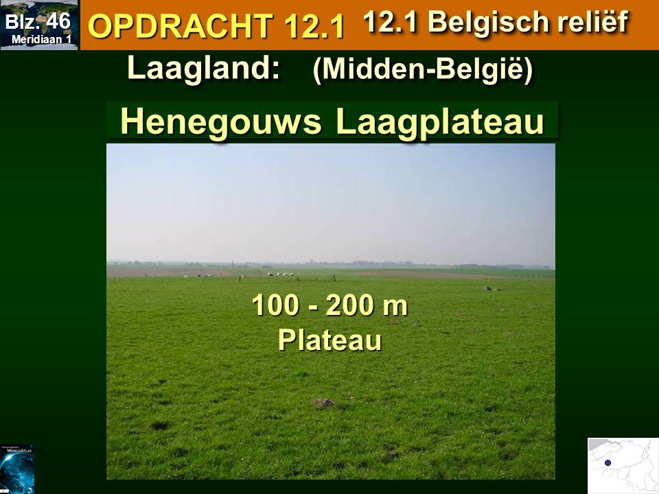 Laagland: (Midden-België) 100 - 200 m Plateau Henegouws Laagplateau OPDRACHT 12.1 12.1 Belgisch reliëf Meridiaan 1 Meridiaan 1 Blz. 46