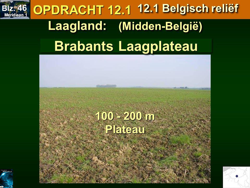 Laagland: (Midden-België) Brabants Laagplateau 100 - 200 m Plateau OPDRACHT 12.1 12.1 Belgisch reliëf Meridiaan 1 Meridiaan 1 Blz. 46