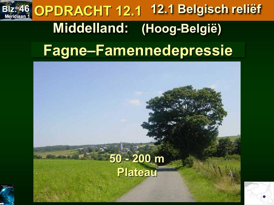 Middelland: (Hoog-België) Fagne–FamennedepressieFagne–Famennedepressie 50 - 200 m Plateau OPDRACHT 12.1 12.1 Belgisch reliëf Meridiaan 1 Meridiaan 1 B
