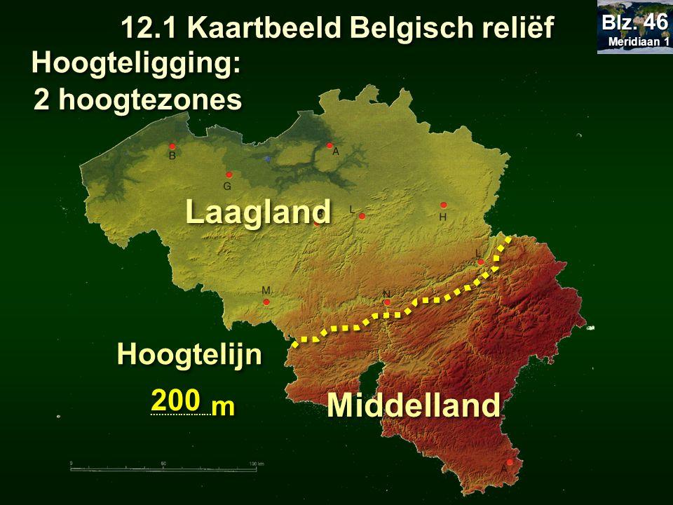 12.1 Kaartbeeld Belgisch reliëf Hoogteligging: Laagland Middelland Hoogtelijn....................... m Hoogtelijn....................... m 200 Meridia