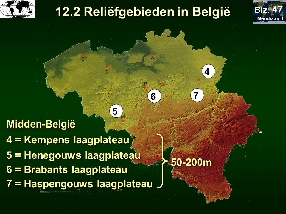4 7 6 5 50-200m 4 = Kempens laagplateau 5 = Henegouws laagplateau 6 = Brabants laagplateau 7 = Haspengouws laagplateau Midden-België 12.2 Reliëfgebied