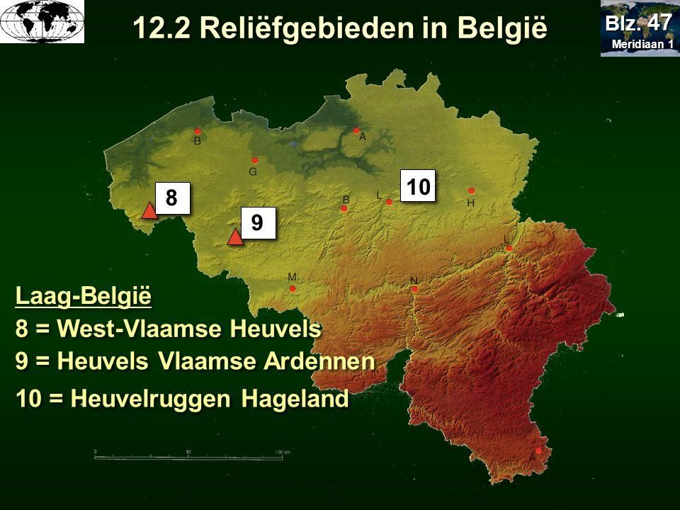 Laag-België 8 = West-Vlaamse Heuvels 9 = Heuvels Vlaamse Ardennen 10 = Heuvelruggen Hageland 8 9 10 12.2 Reliëfgebieden in België Meridiaan 1 Meridiaa