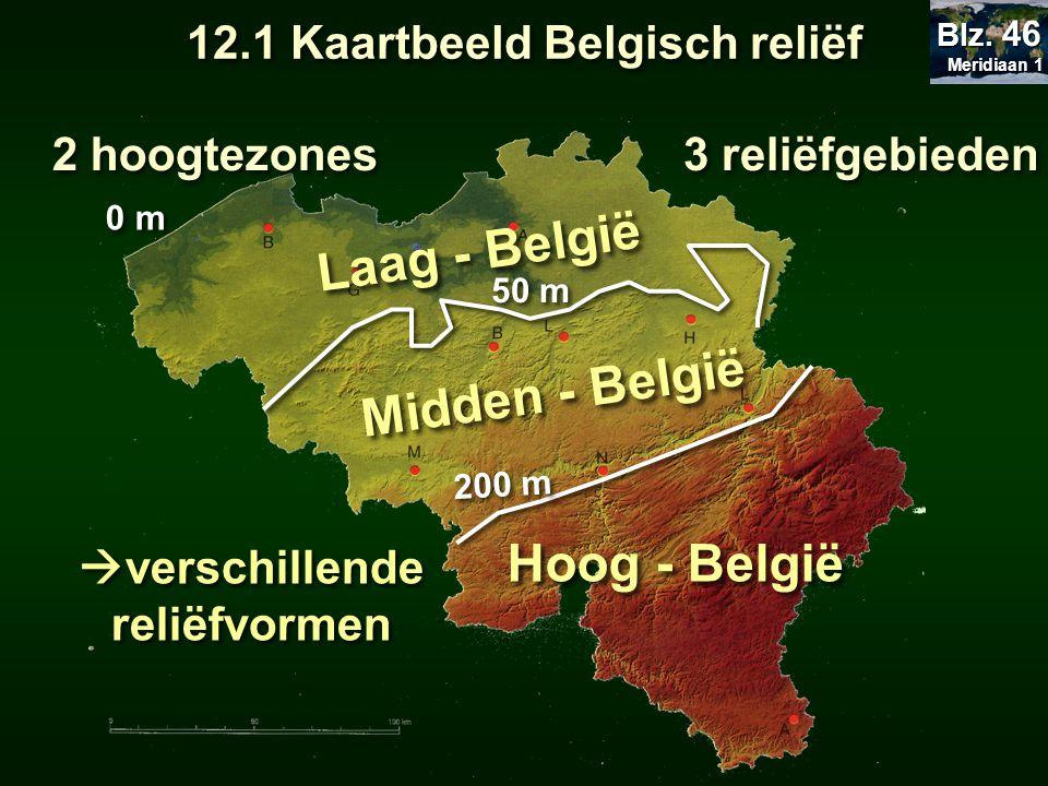  verschillende reliëfvormen 3 reliëfgebieden 200 m 50 m 0 m Laag - België Midden - België Hoog - België 12.1 Kaartbeeld Belgisch reliëf Meridiaan 1 M