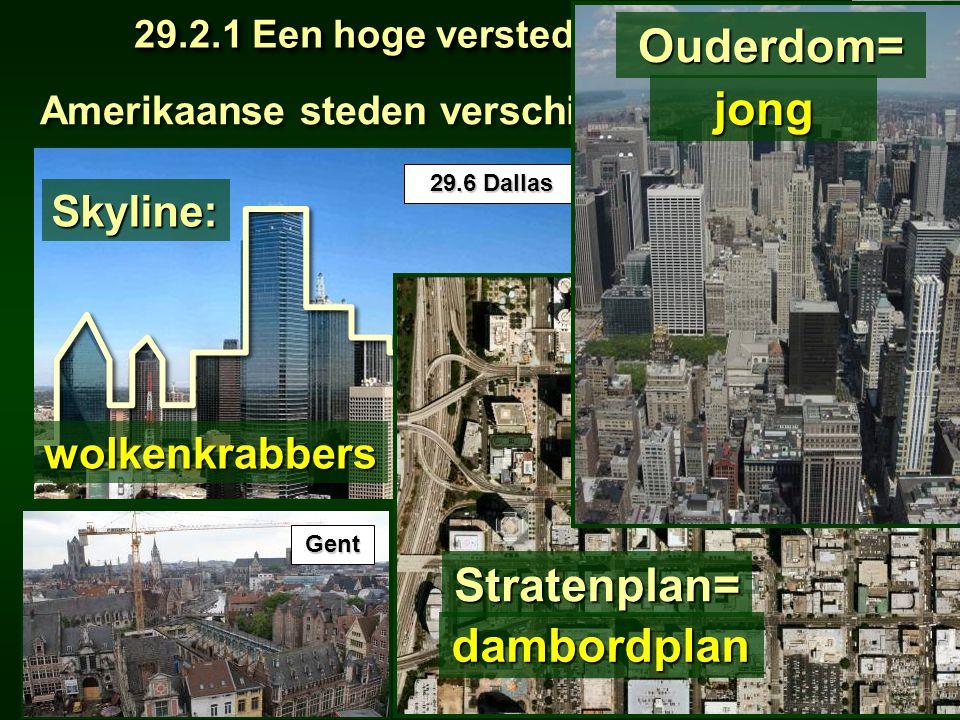 Amerikaanse steden verschillen van Europese 29.2.1 Een hoge verstedelijkingsgraad 29.2.1 Een hoge verstedelijkingsgraad Meridiaan 1 Meridiaan 1 Blz. 1