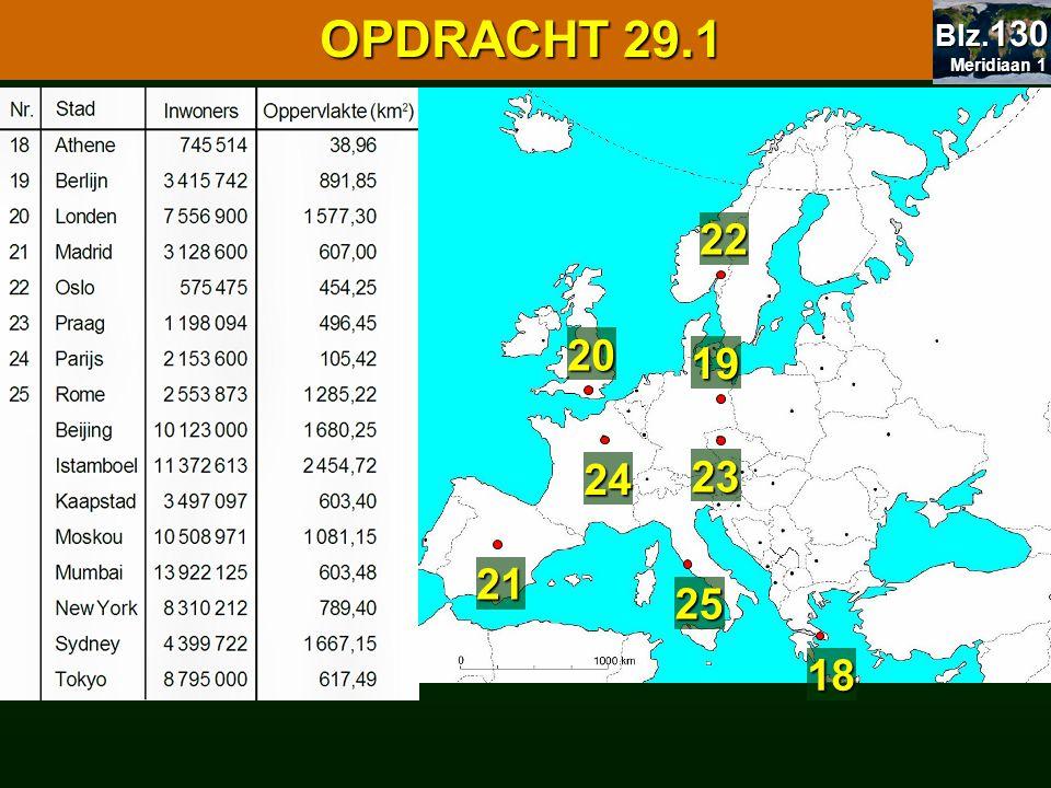 29.1 Oppervlakte en bevolking 29.1 Oppervlakte en bevolking OPDRACHT 29.1 29.2 Europa 18 19 20 21 22 23 24 25 Meridiaan 1 Meridiaan 1 Blz. 130