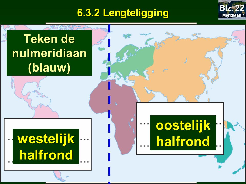 6.3.2 Lengteligging westelijk halfrond oostelijk halfrond Europa: welk halfrond.