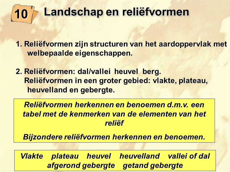 Landschap en reliëfvormen 10 1. Reliëfvormen zijn structuren van het aardoppervlak met welbepaalde eigenschappen. 2. Reliëfvormen: dal/vallei heuvel b