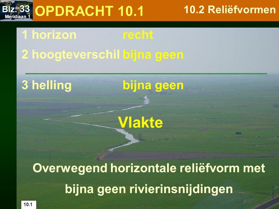 1 horizon 2 hoogteverschil 3 hellingsteil in vallei recht / golvend groot in vallei Overwegend horizontale reliëfvorm met duidelijke hellingen van (soms diepe) rivierinsnijdingen Plateau 10.2 OPDRACHT 10.1 10.2 Reliëfvormen Meridiaan 1 Meridiaan 1 Blz.