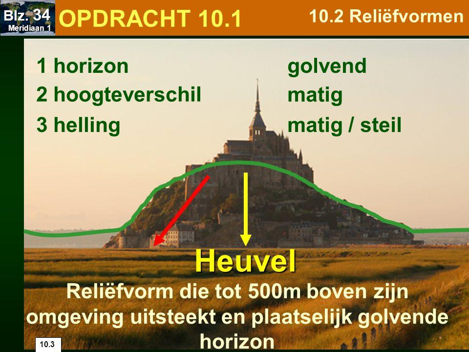 1 horizon 2 hoogteverschil 3 helling zeer steil getand zeer groot Berg Reliëfvorm die boven zijn laagste omgeving uitsteekt met minstens 500m, getande horizon 10.4 OPDRACHT 10.1 10.2 Reliëfvormen Meridiaan 1 Meridiaan 1 Blz.