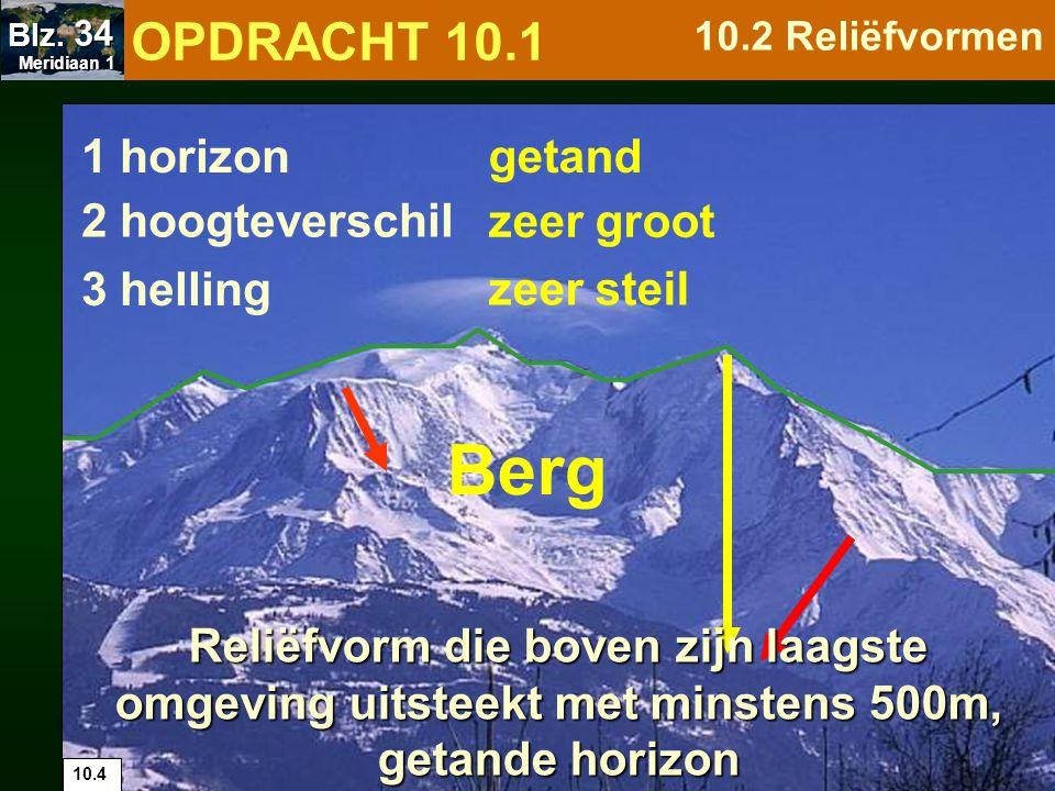 Groep heuvels bij elkaar over een grote aaneengesloten oppervlakte Heuvelland 1 horizon 2 hoogteverschil 3 helling matig recht / golvend matig 10.5 OPDRACHT 10.1 10.2 Reliëfvormen Meridiaan 1 Meridiaan 1 Blz.