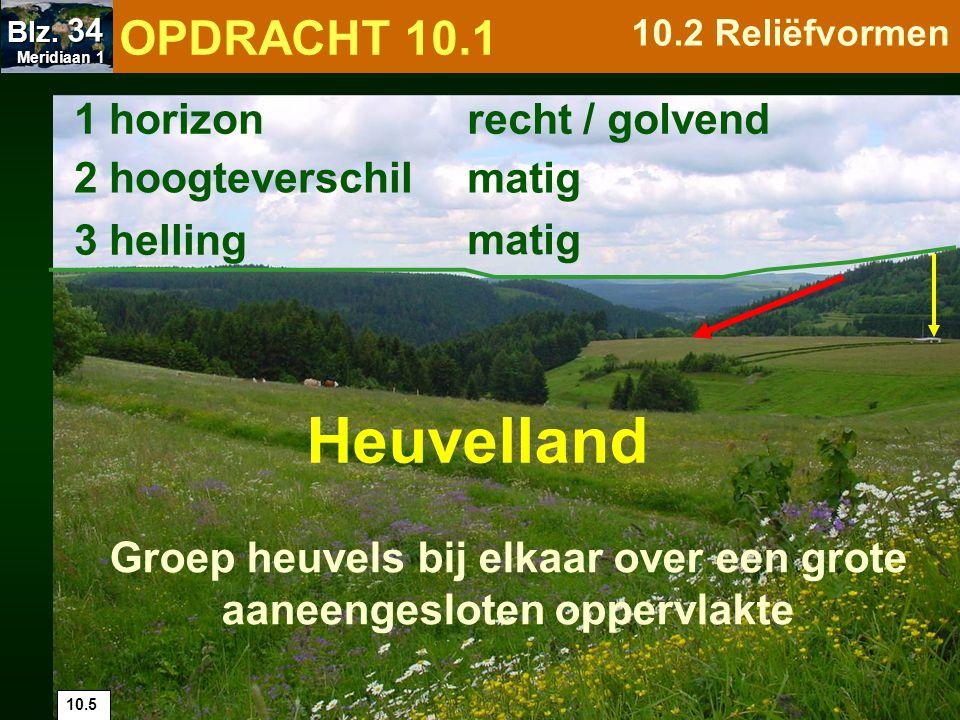 10.6 1 horizon 2 hoogteverschil 3 helling zeer steil getand zeer groot Een groep bergen bij elkaar over een grote en aaneengesloten oppervlakte met toppen > 2 000m Gebergte, bergketen OPDRACHT 10.1 10.2 Reliëfvormen Meridiaan 1 Meridiaan 1 Blz.