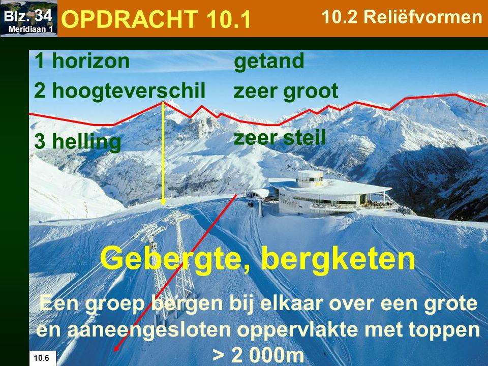 10.6 1 horizon 2 hoogteverschil 3 helling zeer steil getand zeer groot Een groep bergen bij elkaar over een grote en aaneengesloten oppervlakte met to