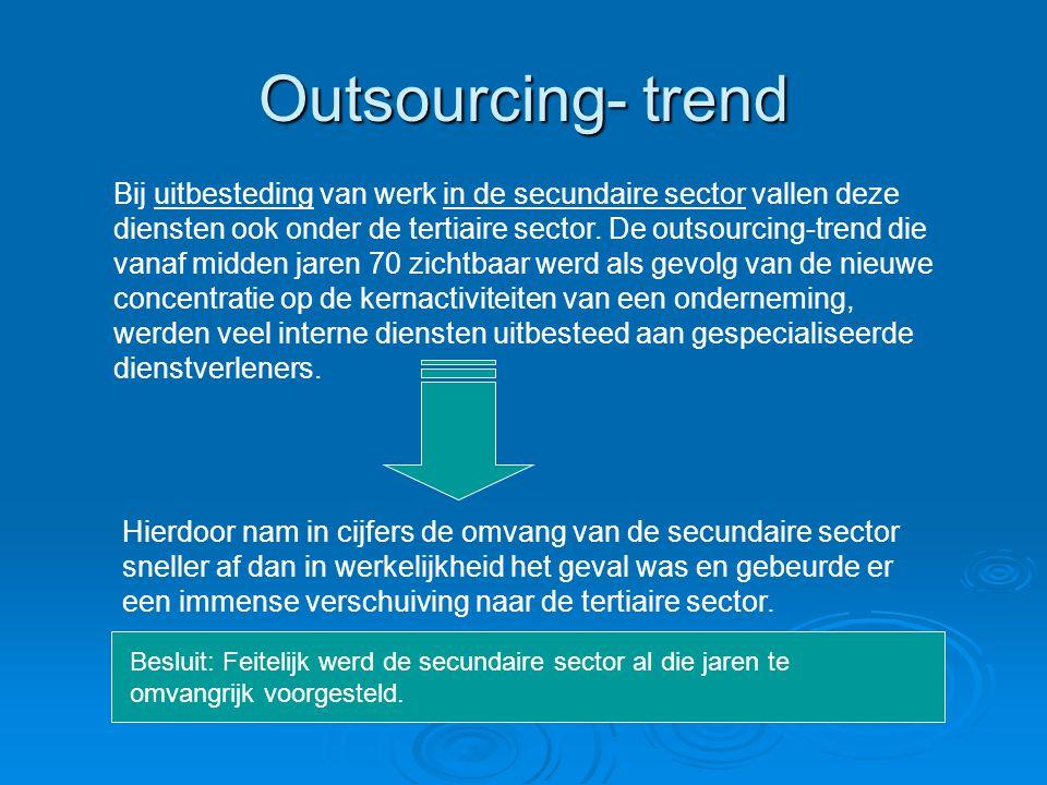 Outsourcing- trend Bij uitbesteding van werk in de secundaire sector vallen deze diensten ook onder de tertiaire sector. De outsourcing-trend die vana