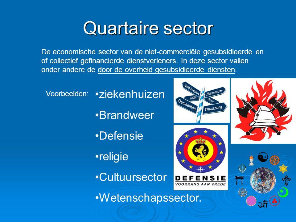 Quartaire sector De economische sector van de niet-commerciële gesubsidieerde en of collectief gefinancierde dienstverleners. In deze sector vallen on