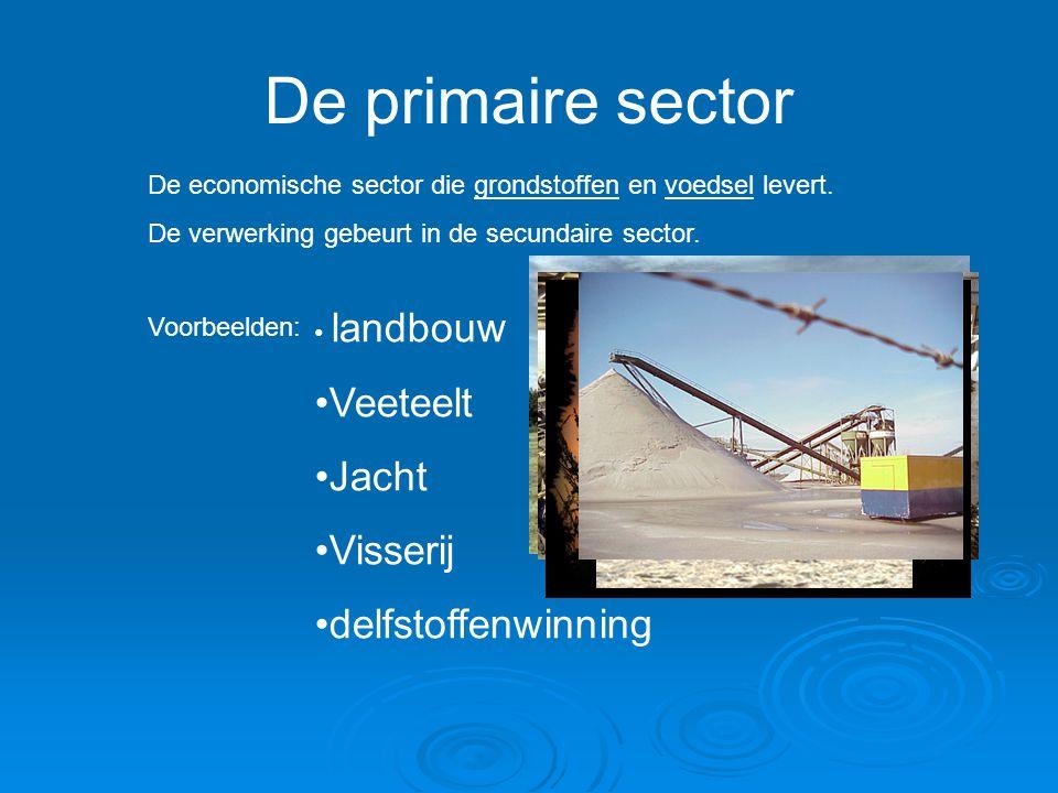 De primaire sector De economische sector die grondstoffen en voedsel levert. De verwerking gebeurt in de secundaire sector. Voorbeelden: landbouw Veet
