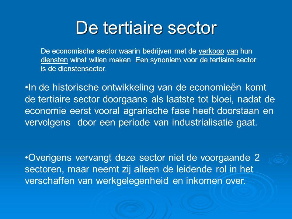 De tertiaire sector De economische sector waarin bedrijven met de verkoop van hun diensten winst willen maken. Een synoniem voor de tertiaire sector i