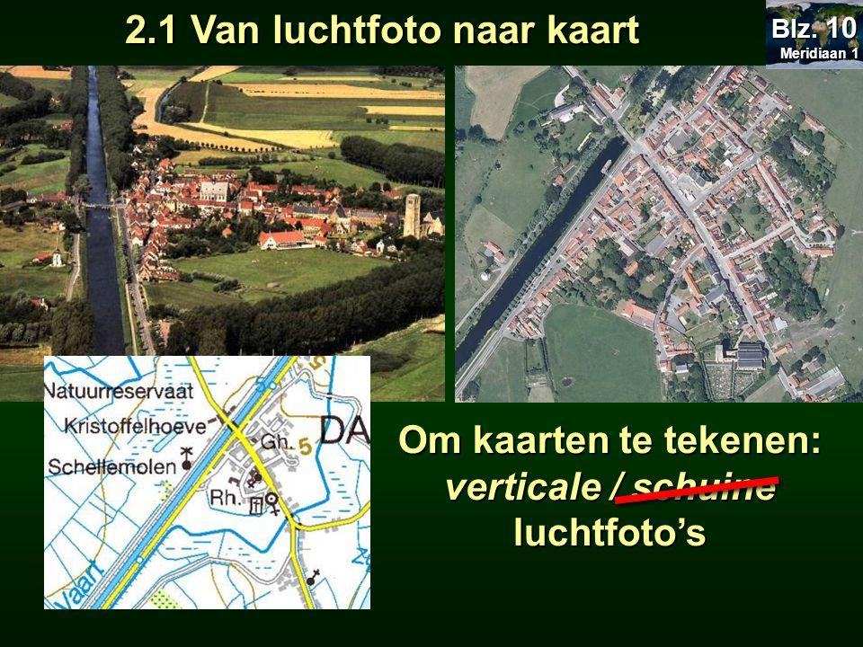 2.1 Van luchtfoto naar kaart Meridiaan 1 Meridiaan 1 Blz. 10 Om kaarten te tekenen: verticale / schuine luchtfoto's