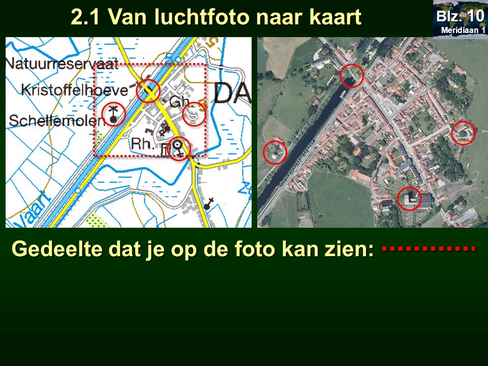 2.1 Van luchtfoto naar kaart Meridiaan 1 Meridiaan 1 Blz. 10 Gedeelte dat je op de foto kan zien: Gedeelte dat je op de foto kan zien: