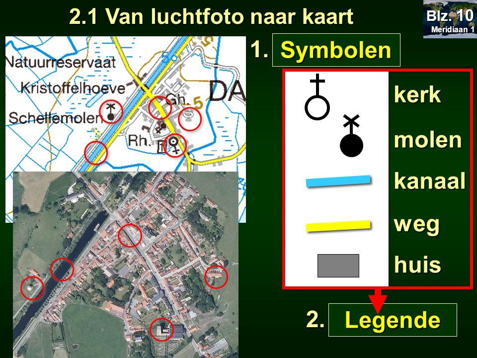 2.1 Van luchtfoto naar kaart Meridiaan 1 Meridiaan 1 Blz. 10 Symbolen 1. kerk molen kanaal weg huis Legende 2.