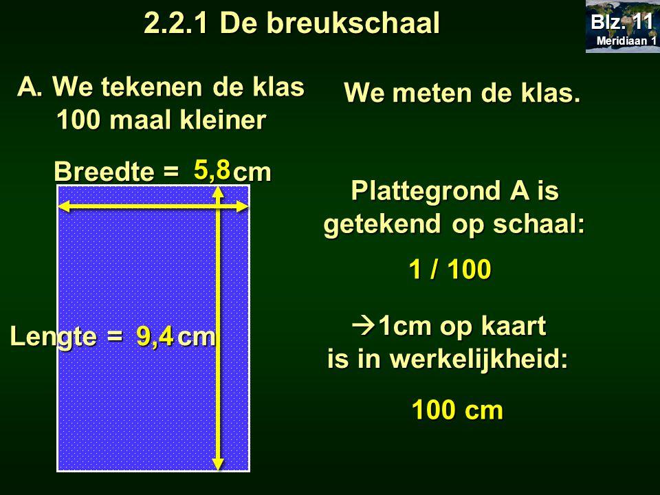 A. We tekenen de klas 100 maal kleiner Lengte = cm Breedte = cm 5,8 9,4 We meten de klas. Meridiaan 1 Meridiaan 1 Blz. 11 Plattegrond A is getekend op