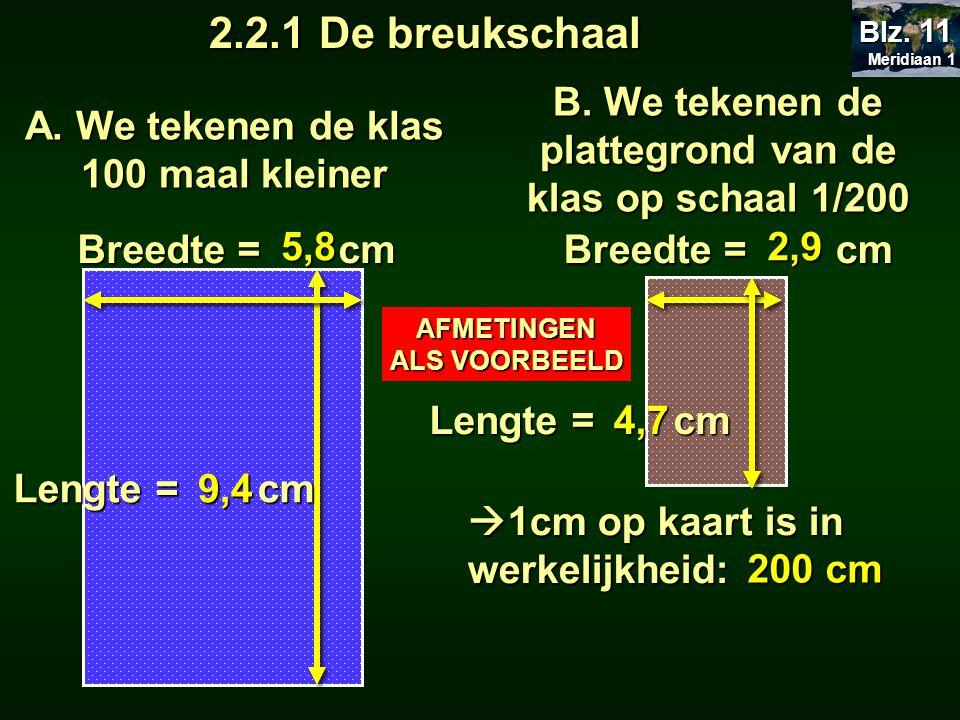 A. We tekenen de klas 100 maal kleiner Lengte = cm Breedte = cm 5,8 9,4 Meridiaan 1 Meridiaan 1 Blz. 11 B. We tekenen de plattegrond van de klas op sc
