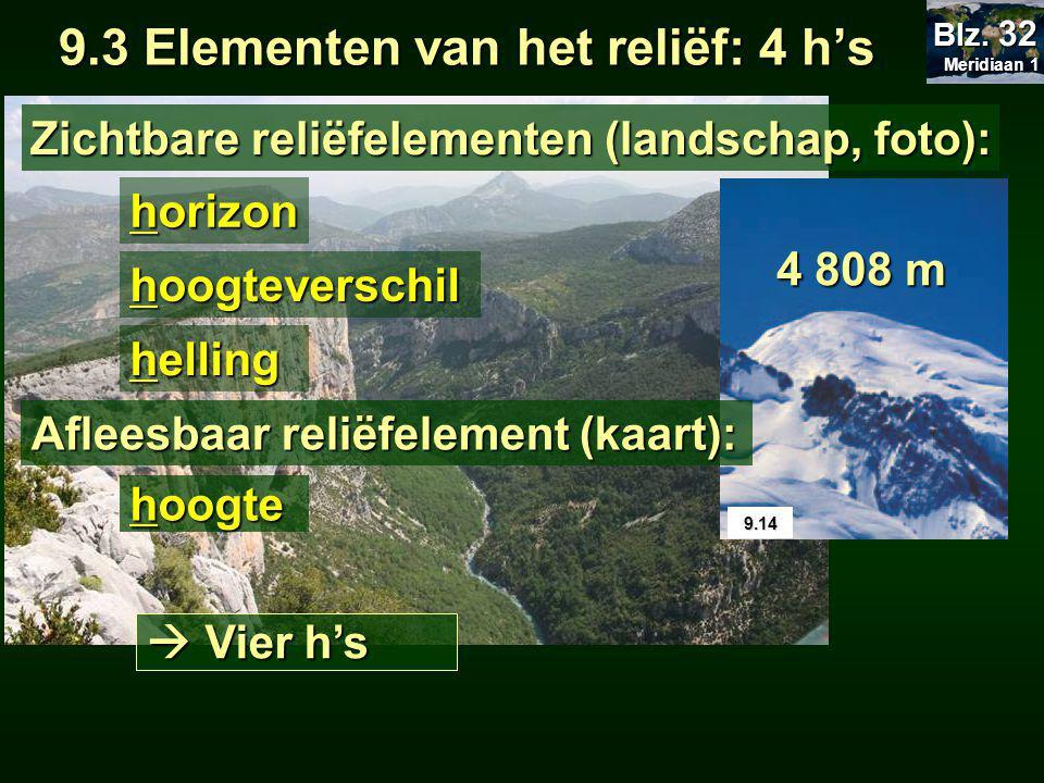 9.3 Elementen van het reliëf: 4 h's helling hoogteverschil Zichtbare reliëfelementen (landschap, foto): 9.14 4 808 m Meridiaan 1 Meridiaan 1 Blz.