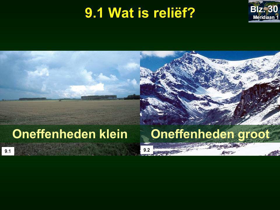 9.1 9.2 Oneffenheden kleinOneffenheden groot 9.1 Wat is reliëf? Meridiaan 1 Meridiaan 1 Blz. 30
