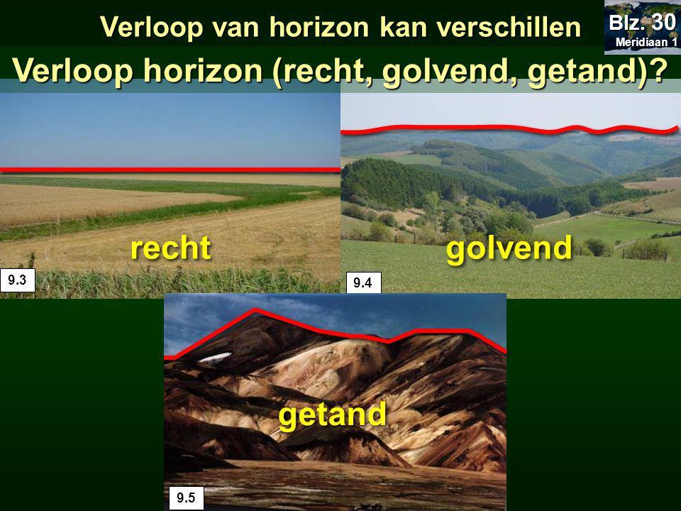 9.3 9.49.5 golvend recht getand Verloop van horizon kan verschillen Verloop horizon (recht, golvend, getand).