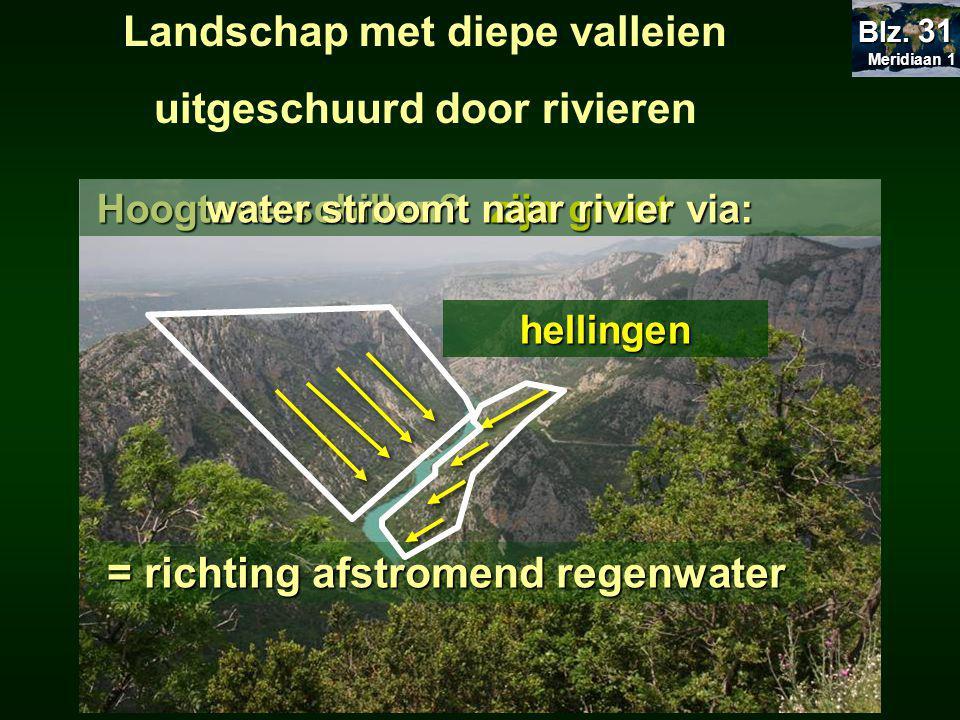 Landschap met diepe valleien uitgeschuurd door rivierenHoogteverschillen.