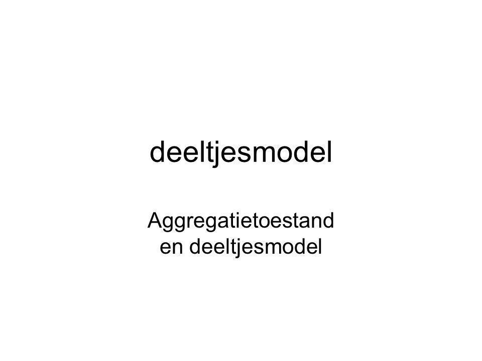 deeltjesmodel Aggregatietoestand en deeltjesmodel