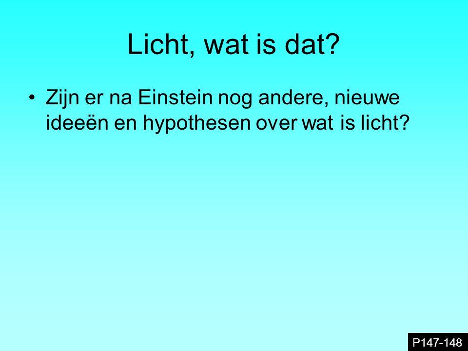 Licht, wat is dat. Zijn er na Einstein nog andere, nieuwe ideeën en hypothesen over wat is licht.
