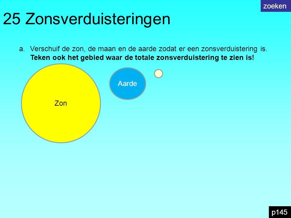 25 Zonsverduisteringen a.Verschuif de zon, de maan en de aarde zodat er een zonsverduistering is.