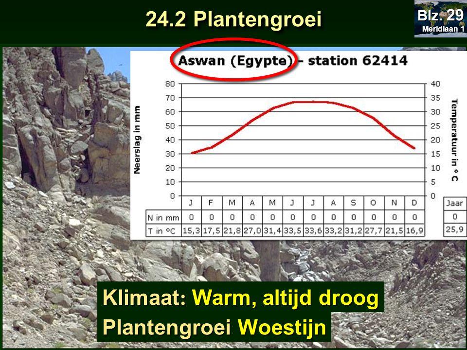 Klimaat : Plantengroei : Warm, altijd droog Woestijn 24.2 Plantengroei Meridiaan 1 Meridiaan 1 Blz. 29
