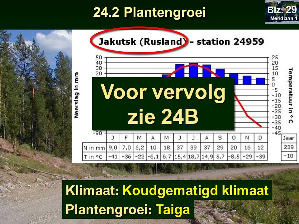 Klimaat : Plantengroei : Koudgematigd klimaat Taiga Voor vervolg zie 24B 24.2 Plantengroei Meridiaan 1 Meridiaan 1 Blz. 29