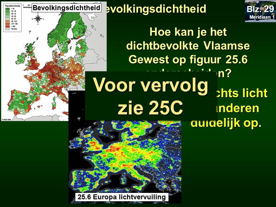 Meridiaan 1 Meridiaan 1 Blz. 29 25.2 Bevolkingsdichtheid 's Nachts licht Vlaanderen duidelijk op. Bevolkingsdichtheid 25.6 Europa lichtvervuiling Hoe