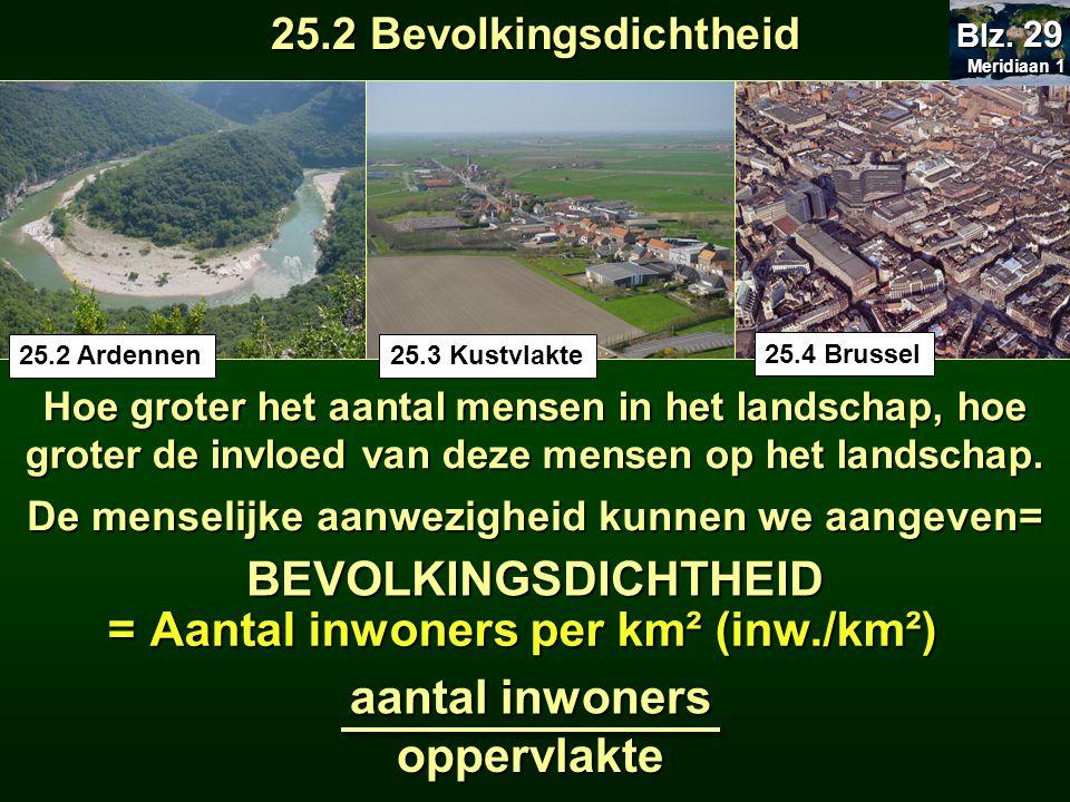 Hoe groter het aantal mensen in het landschap, hoe groter de invloed van deze mensen op het landschap. De menselijke aanwezigheid kunnen we aangeven=