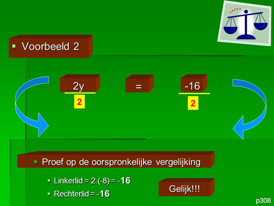 z =2  Voorbeeld 3 p308 z4 = 0,5.4  Proef op de oorspronkelijke vergelijking  Linkerlid = 2 : 4 = 0,5  Rechterlid = 0,5 Gelijk!!!