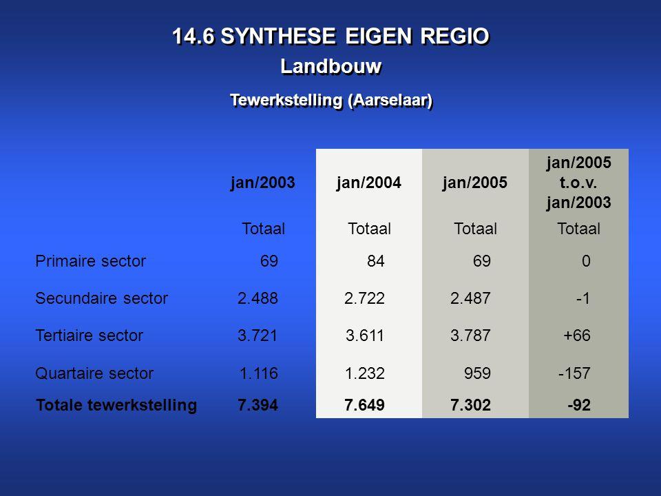 14.6 SYNTHESE EIGEN REGIO Landbouw Tewerkstelling (Aarselaar) GEMEENTE AARTSELAAR Werkgelegenheid - Tewerkstelling volgens sector GEGEVE NS jan/2003jan/2004jan/2005 jan/2005 t.o.v.