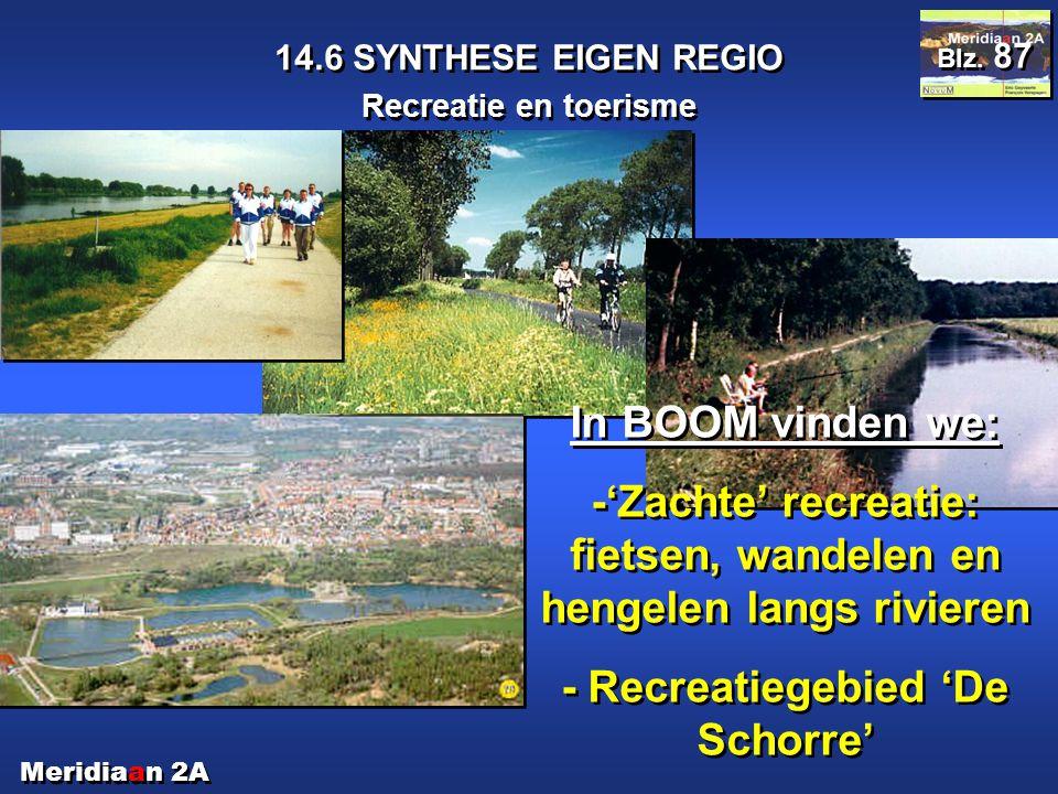 Meridiaan 2A 14.6 SYNTHESE EIGEN REGIO Recreatie en toerisme Blz. 87 In BOOM vinden we: -'Zachte' recreatie: fietsen, wandelen en hengelen langs rivie
