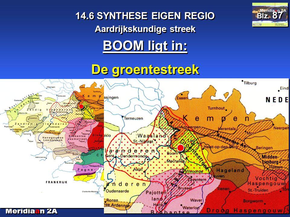 Meridiaan 2A 14.6 SYNTHESE EIGEN REGIO Aardrijkskundige streek Blz. 87 BOOM ligt in: De groentestreek BOOM ligt in: De groentestreek