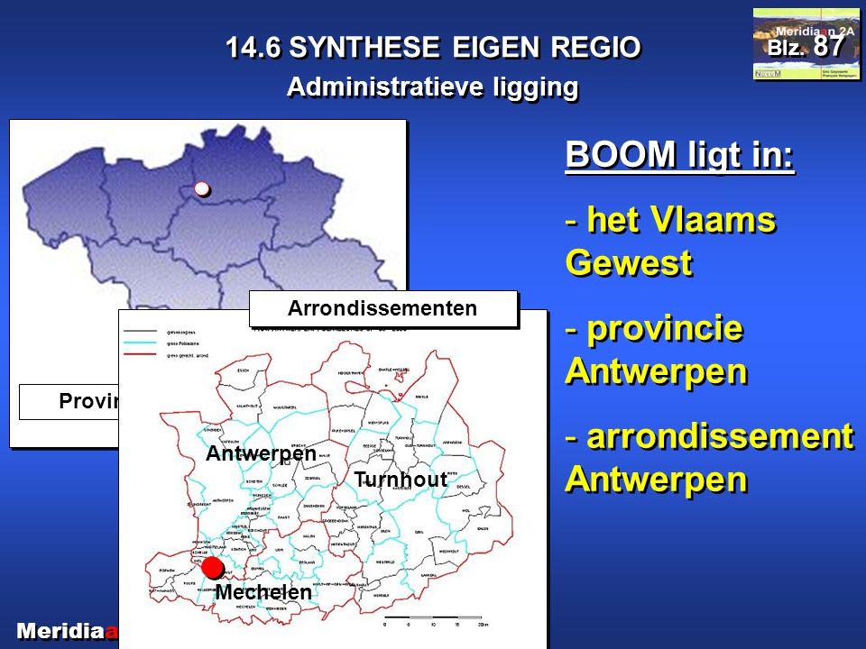 Meridiaan 2A 14.6 SYNTHESE EIGEN REGIO Administratieve ligging Blz. 87 BOOM ligt in: - het Vlaams Gewest - provincie Antwerpen - arrondissement Antwer
