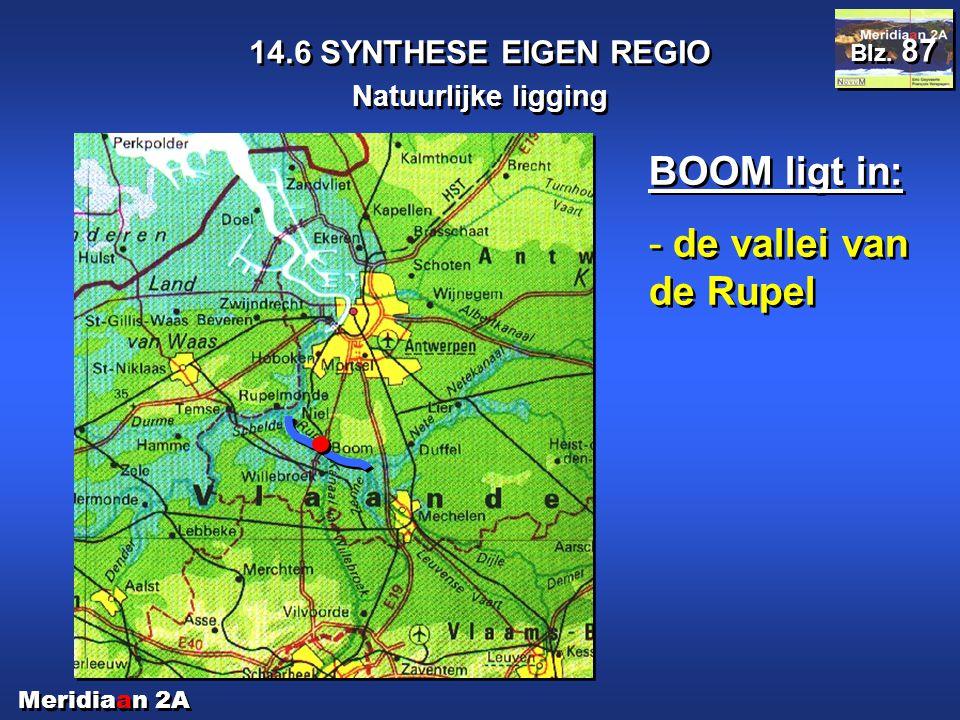 Meridiaan 2A 14.6 SYNTHESE EIGEN REGIO Natuurlijke ligging Blz. 87 BOOM ligt in: - de vallei van de Rupel BOOM ligt in: - de vallei van de Rupel
