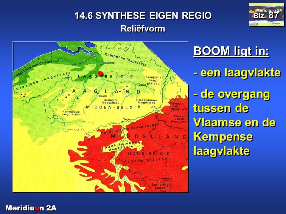 Meridiaan 2A 14.6 SYNTHESE EIGEN REGIO Reliëfvorm Blz. 87 BOOM ligt in: - een laagvlakte - de overgang tussen de Vlaamse en de Kempense laagvlakte BOO