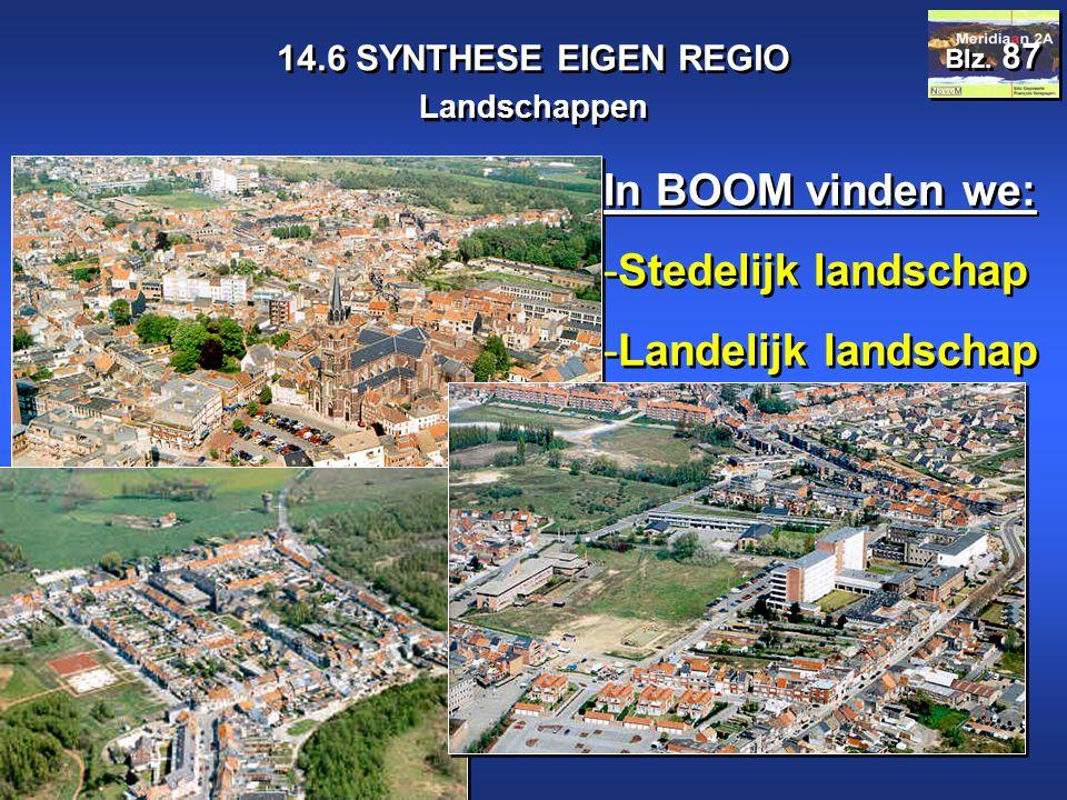 Meridiaan 2A 14.6 SYNTHESE EIGEN REGIO Landschappen Blz. 87 In BOOM vinden we: -Stedelijk landschap -Landelijk landschap In BOOM vinden we: -Stedelijk