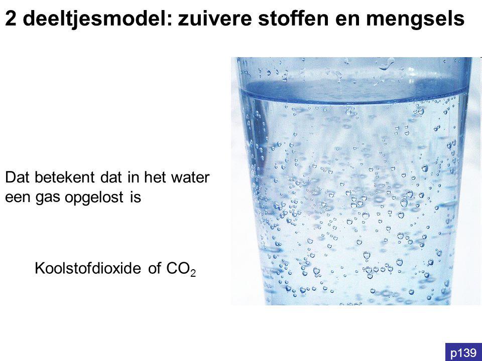 p139 Dat betekent dat in het water een gas opgelost is 2 deeltjesmodel: zuivere stoffen en mengsels Koolstofdioxide of CO 2