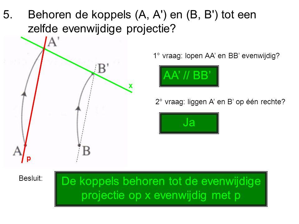 5.Behoren de koppels (A, A') en (B, B') tot een zelfde evenwijdige projectie? 1° vraag: lopen AA' en BB' evenwijdig? AA' // BB' 2° vraag: liggen A' en