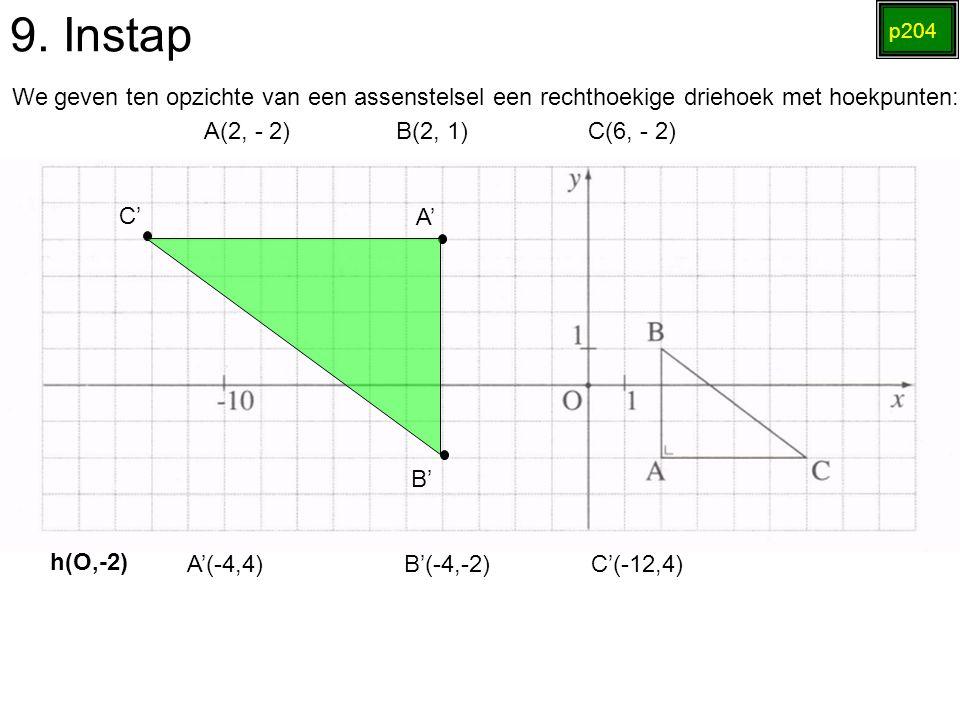 9. Instap p204 We geven ten opzichte van een assenstelsel een rechthoekige driehoek met hoekpunten: A(2, - 2)B(2, 1)C(6, - 2) h(O,-2) A'(-4,4) B'(-4,-