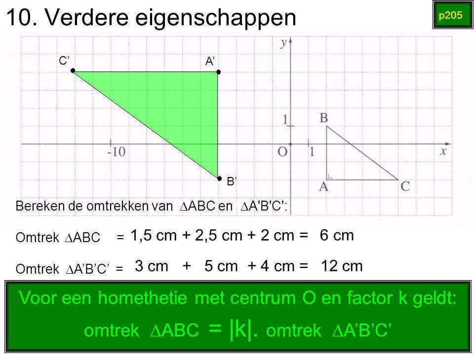 10. Verdere eigenschappen p205 1,5 cm + 2,5 cm + 2 cm = A' B' C' Bereken de omtrekken van  ABC en  A'B'C': Omtrek   ABC = Omtrek  A'B'C' = 6 cm