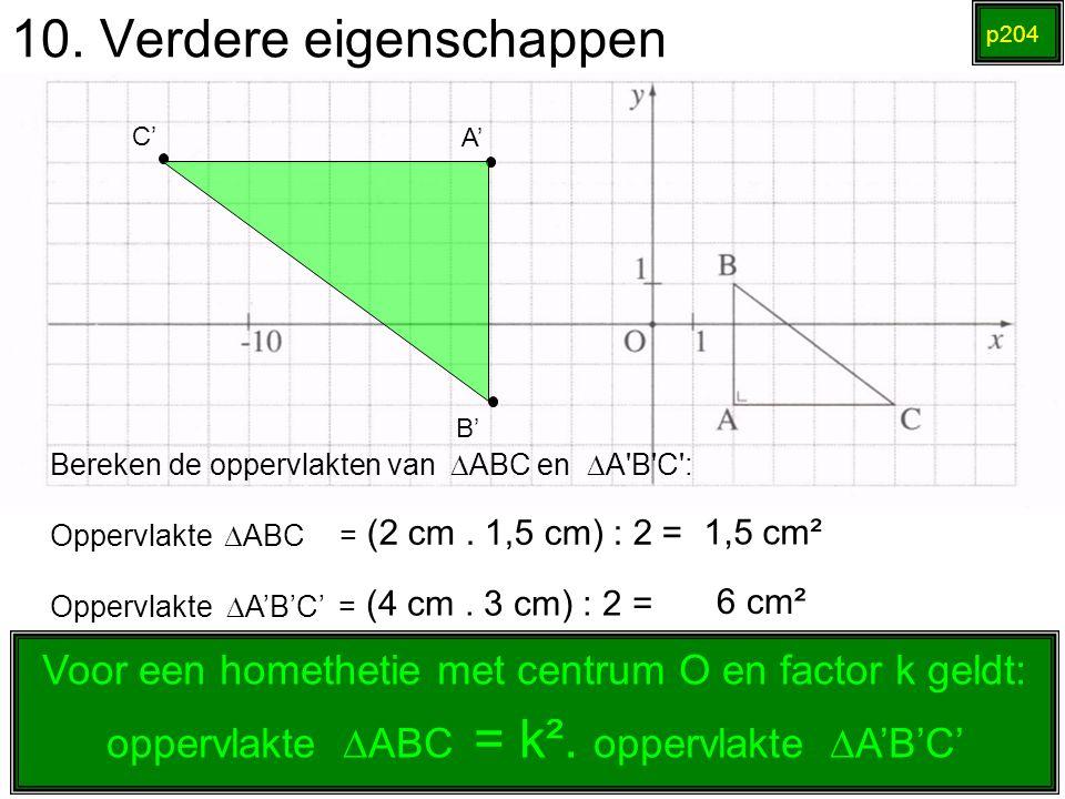 10. Verdere eigenschappen p204 (2 cm. 1,5 cm) : 2 = A' B' C' Bereken de oppervlakten van  ABC en  A'B'C': Oppervlakte   ABC = Oppervlakte  A'B'