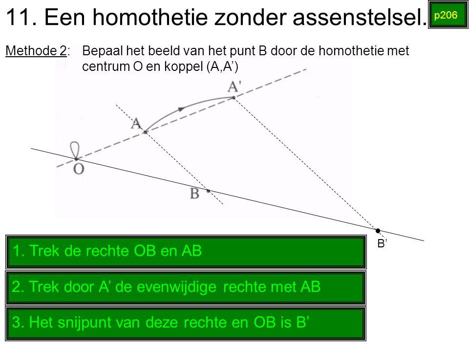 11. Een homothetie zonder assenstelsel. p206 Methode 2: Bepaal het beeld van het punt B door de homothetie met centrum O en koppel (A,A') 1. Trek de r